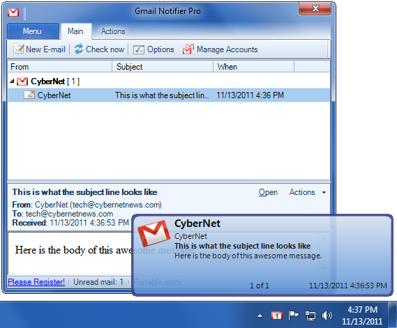 Free gmail notifier