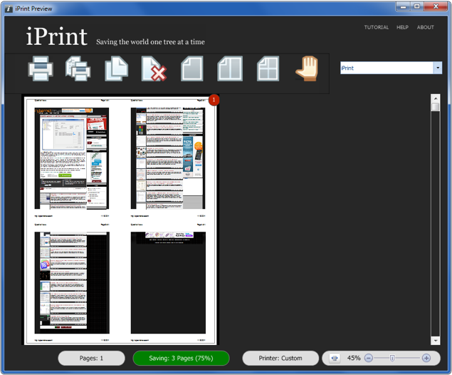Print multiple pages on one page
