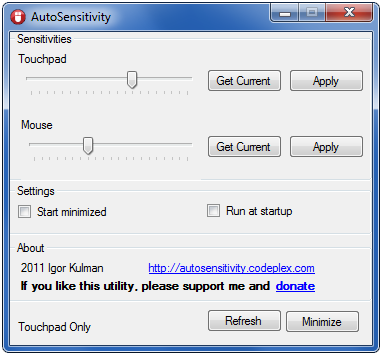 Touchpad mouse sensitivity