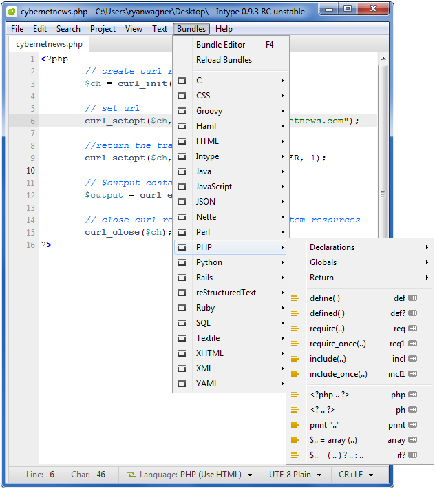 Free text editor syntax
