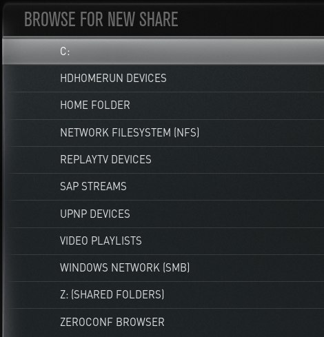 Xbmc browse shared media