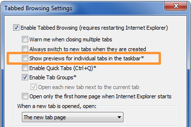 Disable ie tab preview