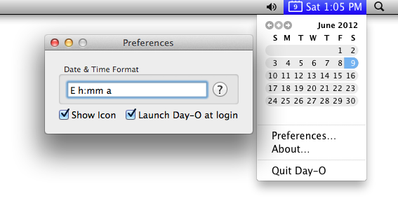 Calendar mac menu bar