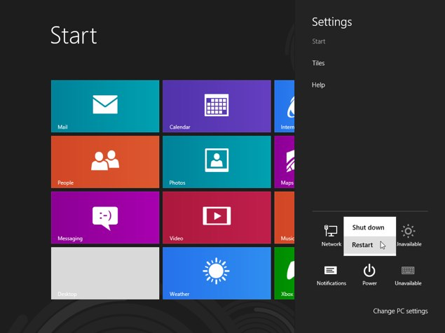 Windows 8 shutdown restart