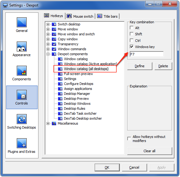 Windows virtual desktops spaces settings