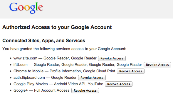 Google authorized third party apps