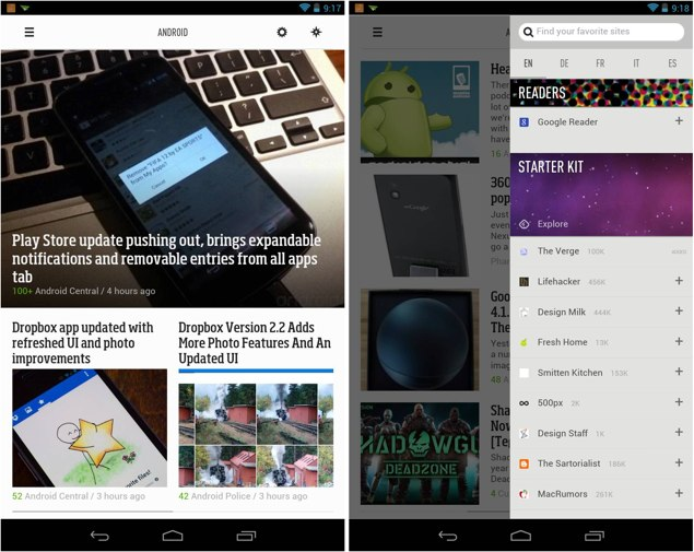 Android flipboard google reader