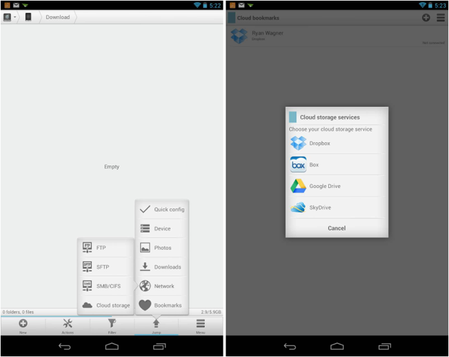 Android file explorer dropbox