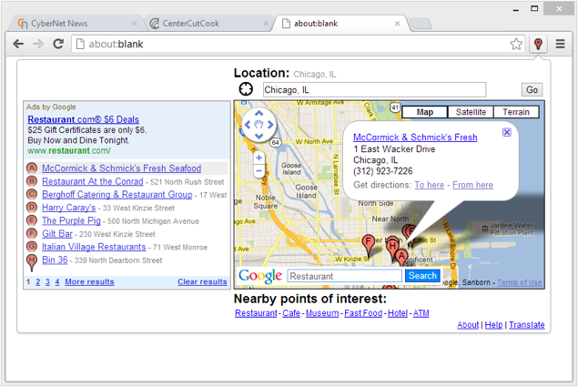 Chrome google maps extension