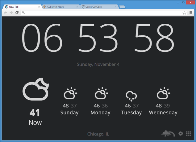 Chrome time weather